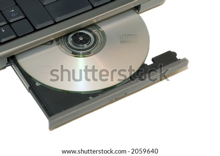 Open cd tray on a notebokk isolated over a white background