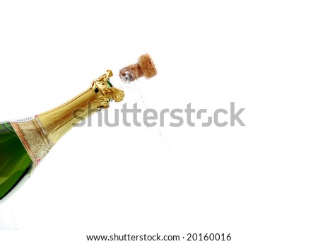 open champagne cork to celebrate new year - stock photo