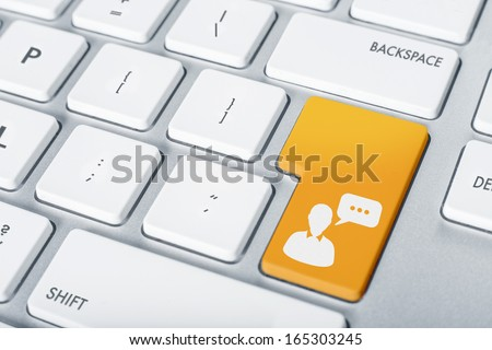 Open chat computer key concept colorful button - stock photo
