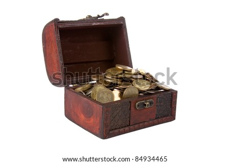 Open chest with coins isolated on white background - stock photo