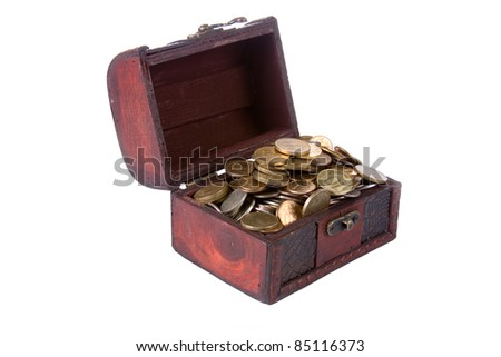 Open chest with coins isolated on white background