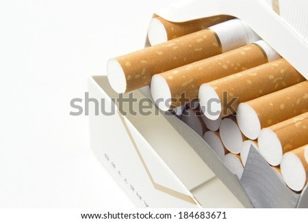 open cigarettes pack on white background - stock photo