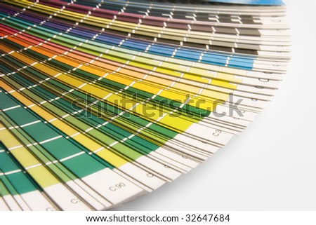 open CMYK sample colors catalogue - stock photo