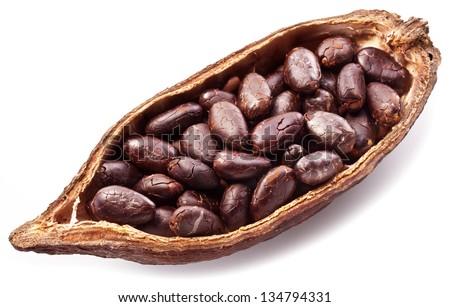 Open cocoa pod on a white background. - stock photo
