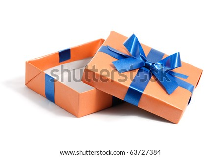 open color gift box on white background - stock photo