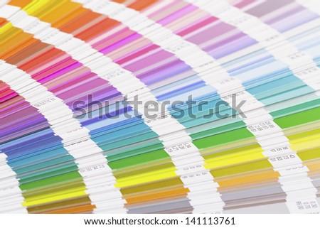 Open color guide scheme, closeup - stock photo