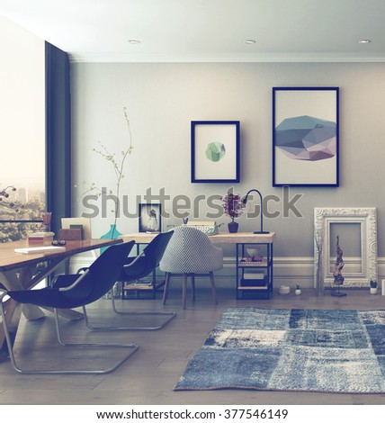 Open Concept Home Office Space with Eclectic Furnishings in Modern High Rise Apartment with Large Window and View of City. 3d Rendering. - stock photo