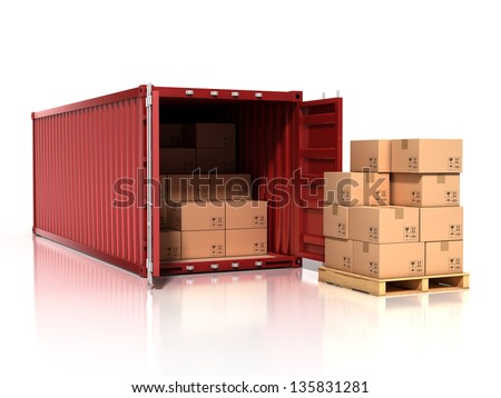 open container with cardboard boxes - stock photo