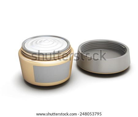 Open container with cream isolated on white background - stock photo