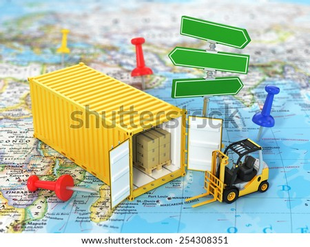 Open container with road sign and forklift stacker loader holding cardboard boxes on the world map. Transportation concept. - stock photo