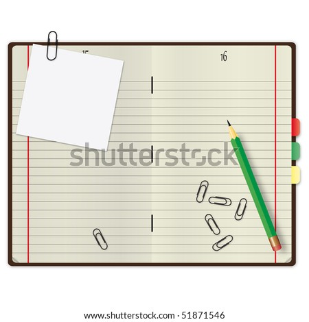 Open copybook with a green pencil and paper clips.