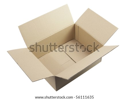open corrugated cardboard box,isolated on white with clipping path - stock photo