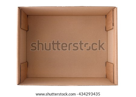 Open Corrugated Cardboard Box, top view, isolated on white background, clipping path - stock photo