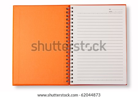 open cover orange note book
