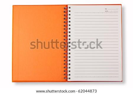open cover orange note book - stock photo