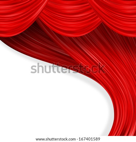Open curtain. Red fabric on the white background - stock photo