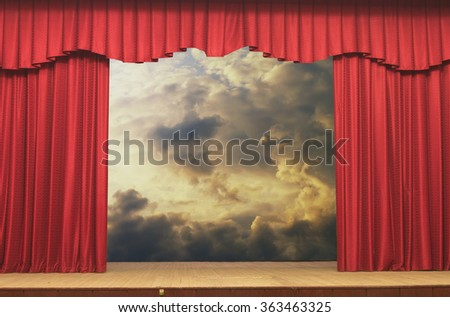 Open curtains on the background of the sky background