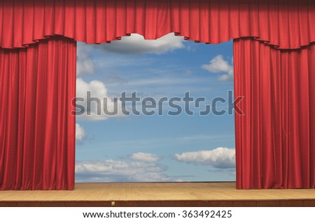 Open curtains on the background of the sky background - stock photo