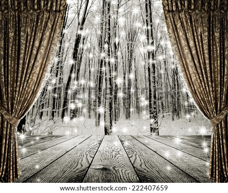 Open curtains on the background winter forest and stars - stock photo