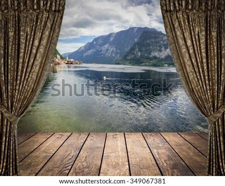 Open curtains on the sea and mountains background  - stock photo