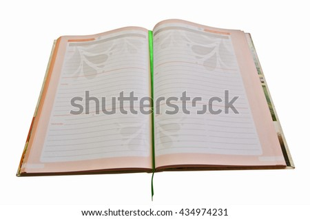 Open daily diary for daily note - stock photo