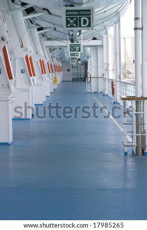 Open deck with life boat stations - stock photo