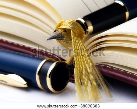 Open diary and fountain pen on it. - stock photo