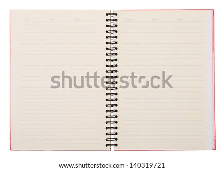 Open diary isolated on a white background