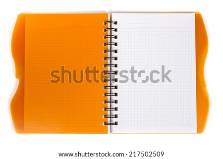 Open diary orange with metal spiral on a white background