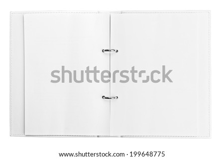 Open diary with blank pages on white background - stock photo