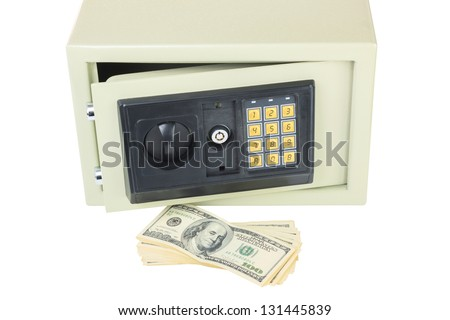 Open digital safe with dollars isolated on white background - stock photo