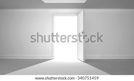 Open door and white background