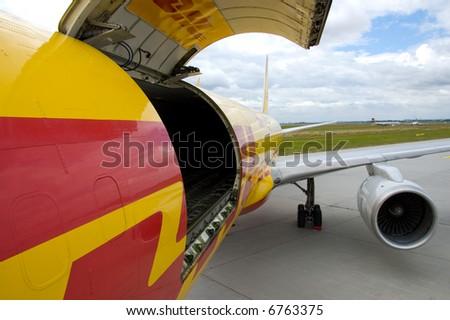 open door at cargo airplane - stock photo