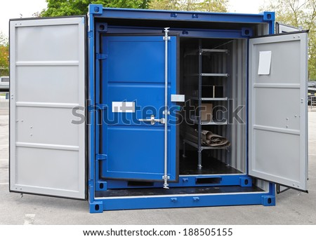 Open door at new shipping cargo container - stock photo