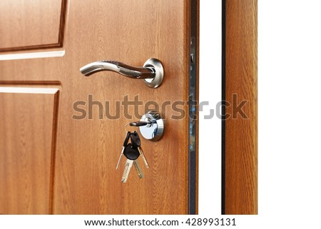 Open door handle. Door lock with keys. Brown wooden door closeup isolated. Modern interior design, door handle. New house concept. Real estate. - stock photo