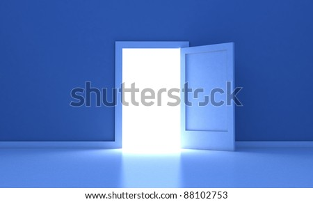 Open door in a dark room with light outside - stock photo