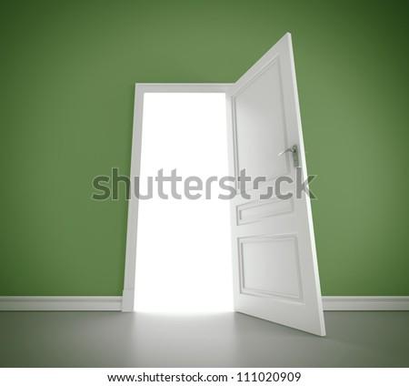 open door in green room - stock photo
