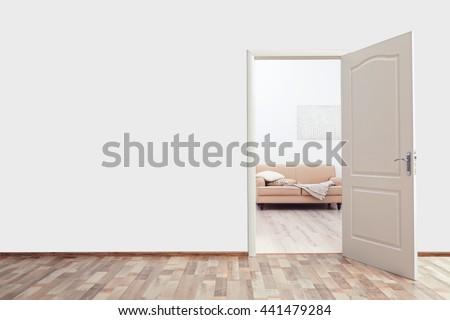 open door drawing perspective. open door in the room drawing perspective