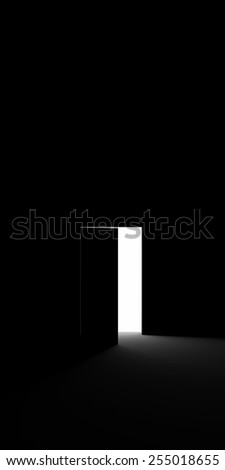 Open door into the darkness - stock photo