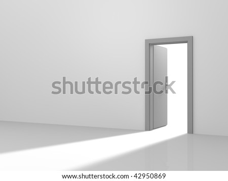 Open door into the light. Computer generated image. - stock photo