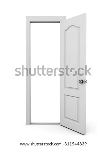 Open door isolated on white background. 3d rendering.
