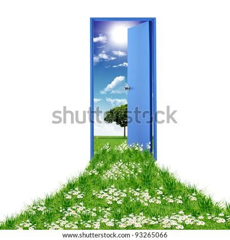Open door leading to summer - stock photo