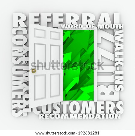 open door new referral and word of mouth customers - stock photo