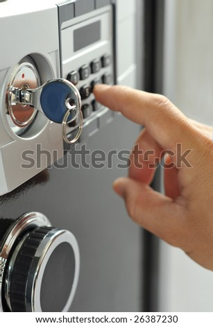 Open door of safe box with digital lock - stock photo