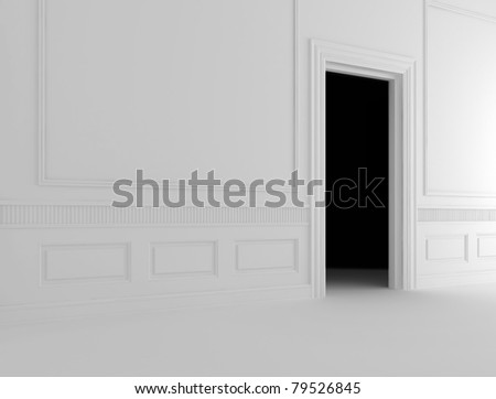 Open door to a dark room
