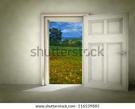 open door to autumn landscape from white room illustration - stock photo