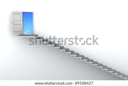 Open door to business success with 3d stairs. - stock photo