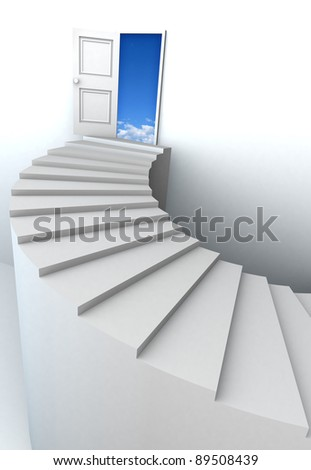 Open door to business success with 3d stairs. Included clipping path in the door, so you can easily cut it out and place your own subject. - stock photo