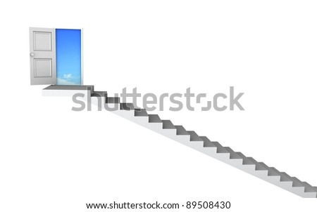 Open door to business success with 3d stairs. Included clipping path, so you can easily cut it out and place your own subject. - stock photo