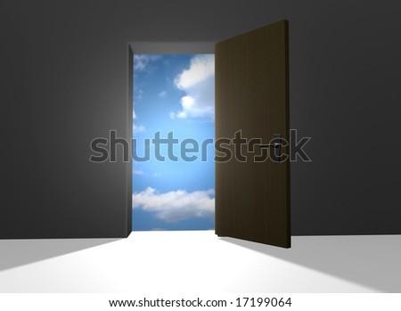 Open door to heaven - stock photo